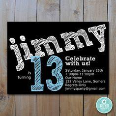 Printable Birthday Invitation Teen Chalkboard By FancyShmancyNotes 1500 Cowboy