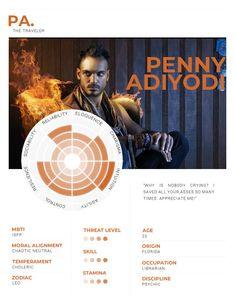 Penny Adiyodi, personality assessment