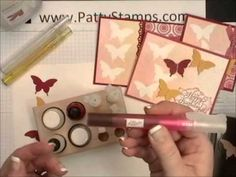 Butterflies, Spritzers and Glimmer paints video tutorial at http://www.pattystamps.typepad.com/pattys_stamping_spot/2012/07/july-2012-technique-challenge-video-stampin-misters.html