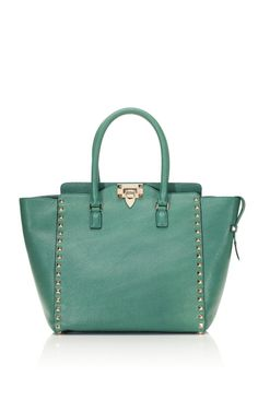 Shop Pop Green Rockstud Double Handle Bag by Valentino Now Available on Moda Operandi