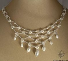 Pearl net necklace, white N1271 by Fleur-de-Irk.deviantart.com on @deviantART