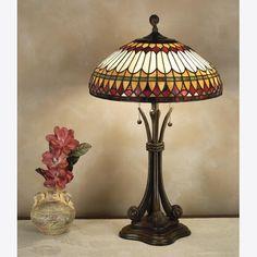 Hansen Lighting in Orem, Utah, United States, Quoizel 6TGQ, Two Light Table Lamp, Tiffany, Brown