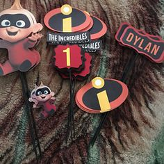 The Incredibles birthday centerpiece Picks Incredibles Wallpaper, Incredibles Logo, Birthday Centerpieces, Making Out, 2nd Birthday, Card Stock, Party, Handmade, Stuff To Buy