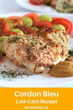 Hier findest du das Low Carb Rezept für ein Low Carb Cordon Bleu vom Kabeljau. Low Carb paniert mit gemahlenen Mandeln. Cordon Bleu Fisch, Low Carb Mittagessen, Low Carb Abendessen. Low Carb Fisch Rezepte zum Ausprobieren und nachkochen. Lass dir dein gesundes Mittagessen mit Fisch schmecken.    #fisch Low Carb High Fat, Lchf, Salmon Burgers, Fit, Ethnic Recipes, Sweet, Gluten Free Recipes, Healthy Fish Recipes, Cod