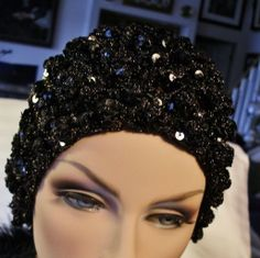 Vintage Sequined Hat  Beret 60's Crochet by RareEarthProducts, $24.00