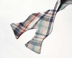 Josh  Linen Plaid Bow Tie Freestyle by bowtieandcotton on Etsy, $28.00