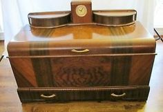 FANTASTIC ART DECO CEDAR CHEST WITH CLOCK CUBBIES AND DRAWERS BY ROSS