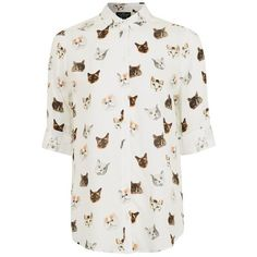 Topshop Petite Multi Cat Print Shirt (135 BRL) ❤ liked on Polyvore featuring tops, cat print top, fitted collared shirts, fitted shirts, petite tops and petite shirts