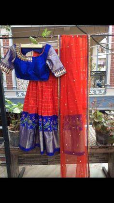 Half sarees Half Saree Lehenga, Kids Lehenga, Bridal Lehenga Choli, Saree Dress, Half Saree Designs, Fancy Blouse Designs, Blouse Neck Designs, Simple Gown Design, Cotton Dresses Online