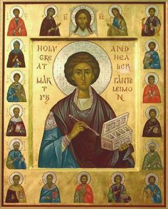 In this beautiful icon, St PANTELEIMON the Wonderworker is surrounded by the Holy Unmercenaries, healing saints who accepted no remuneration for their services. Religious Images, Religious Icons, Religious Art, Byzantine Icons, Byzantine Art, Russian Icons, Best Icons, Historical Art, Art Icon