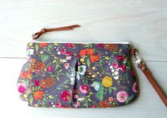 Zipper wristlet clutch  purse with removable leather by TinyDaisy, $26.00