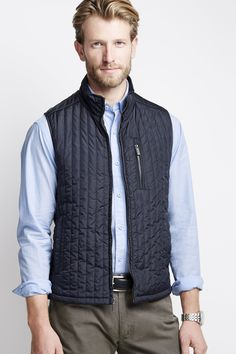 Johnston & Murphy's mini square quilted vest is comfortable and light weight for the spring weather.
