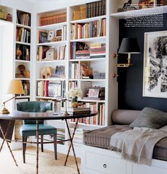 I love this daybed, bookcase, and sconce setup. I would love to have this space in my home. Guest bedroom home office bedroom books bookcase desk Decor, Interior, Home, Home Libraries, House Interior, Elle Decor, Built In Daybed, Interior Design, Guest Room Office