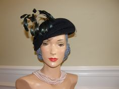 Hello Gorgeous Hat! 1930-40s Vintage Hat Cap Beret of Navy Wool has Veil and Dramatic Flair of Iridescent Black Feathers by Nicholettes on Etsy