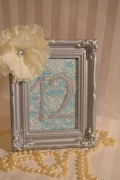 Tiffany Blue Lace Satin Silver Floral Wedding Table Number...but with photo of couple and table number