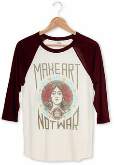 Obey Make Art Not War Natural & Burgundy Baseball Shirt at Zumiez : PDP