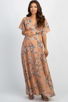 Peach Floral Wrap Maxi Dress