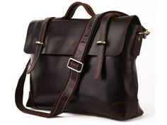 Crossbody Convertible Italian Leather Messenger Briefcase with Vintage Flare and…