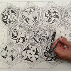 Celtic Pattern, Geometry and Imagination 10 - 14 August 2015 - 10:30 to 17:30   This course will explore the interplay between traditional geometry and imaginative freehand ornament within Celtic Art from its Paleolithic beginnings through to Classical and Christian periods.  Students will learn to draw and compose the traditional forms of knotwork and key patterns as well as the unique geometrical methods of compass drawn spiral patterns.