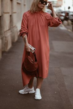Our looks and thoughts from Milan Fashion Week Jolie Zocchi wearing beautiful Ganni dress and Adidas falcon white sneakers! street style from Milan White Outfits For Women, Clothes For Women, Outfit Goals, Milan Fashion, White Sneakers, Casual Looks, Street Style, Thoughts, Style