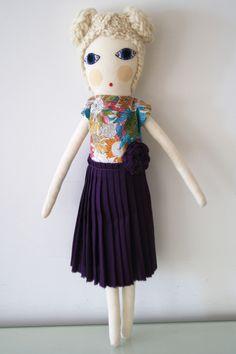 Pleated skirt handmade doll