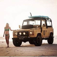 Land Rover Defender 90 Soft top canvas in sand beach. Sometime LANDYs are better work with ladies. Land Rover Defender 110, Defender 90, Trucks And Girls, Car Girls, Beach Cars, Beach Rides, Off Road Adventure, Surf Trip, Sexy Cars