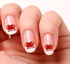 20 Nail Art Decals Transfers Stickers #696 - Wales,  Welsh Dragon