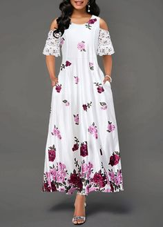 Easter Dress For Women White Floral Cold Shoulder Maxi Dress Half Sleeve Cold Shoulder Lace Panel Dress Half Sleeve Dresses, Half Sleeves, Dresses With Sleeves, Trendy Dresses, Women's Fashion Dresses, Casual Dresses, Maxi Dresses, High Waist Dresses, Flower Dresses