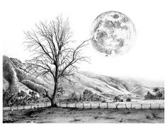 Tree and Moon, Amazing Pencil Drawings, http://hative.com/50-amazing-pencil-drawings/,