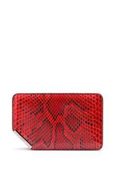 Coral Python Clutch Bag by Bally for Preorder on Moda Operandi