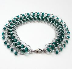 Emerald green glass chainmaille anklet - Tattooed and Chained Chainmaille  - 3