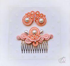 Sady šperkov - Perlový svadobný set - biela a marhuľová verzia - 6847637_