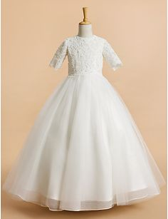 Lanting Bride A-line Tea-length Flower Girl Dress - Tulle Short Sleeve Jewel with Lace 4412273 2016 – $89.99
