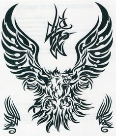 TRIBAL EAGLE Temporary Tattoo Large Design (6.5 x 8 inches)