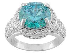 Bella Luce(R) Esotica(Tm) 7.75ctw Paraiba Tourmaline & Diamond Simulants Silver Ring