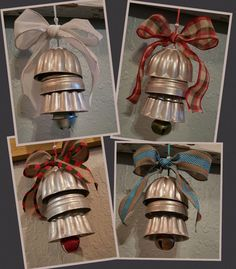 Vintage Aluminum Mini Jell-O Mold Bells. These turned out so Adorable!!! Vintage Christmas Crafts, Christmas Ornaments To Make, Primitive Christmas, Country Christmas, Homemade Christmas, Christmas Projects, Holiday Crafts, Christmas Holidays, Christmas Ideas