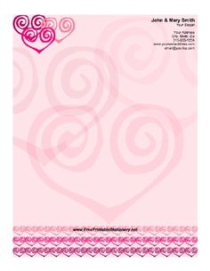 Stylized hearts give an abstract feel to this stationery. Free to download and print- customizable, lined or unlined...doc format