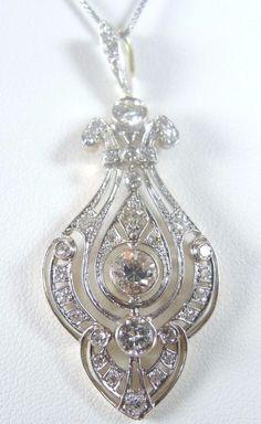 Antique Diamond Necklace Pendant Platinum 18K Yellow Gold EGL USA Art Deco Fine #Handmade #Pendant