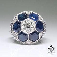 Antique Art Deco Platinum 1.20ctw.  Diamond & Sapphire Ring