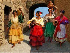 gypsy woman artwork   Spanish Gypsy women's costume. XIX century
