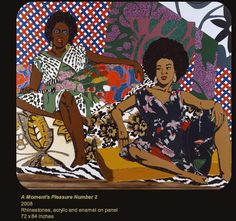 A Moment's Pleasure Number 2  2008  Rhinestones, acrylic and enamel on panel  72X84 inches, Mickalene Thomas. Showing at the SMMOA through August 2012!