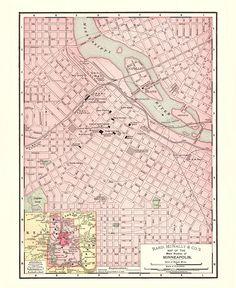 Vintage Duluth MN Map Minneapolis Minnesota Vintage Map City - Minnesota city map