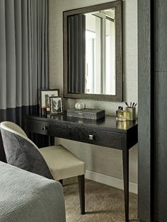 Black wenge dressing table matching the bespoke wardrobe and softened with touches of blue in the upholstery and two-tone, handmade curtains. Neutral Color Scheme, Color Schemes, Study In London, Stones Throw, Pent House, Dressing Table, Dark Wood, Shades Of Blue, Dining Area