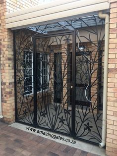 Ornate front door gates in Johannesburg, South Africa, Front Gate Design, House Gate Design, Door Gate Design, Railing Design, Wrought Iron Security Doors, Wrought Iron Doors, Security Gates, Iron Front Door, Window Grill Design