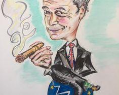 Nigel Farage brush pen drawing(original)