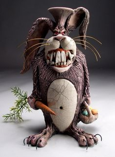 Deranged is right but funny too....made me laugh....is that wrong? Mitchell Grafton - Deranged Bunny Ceramic Sculpture