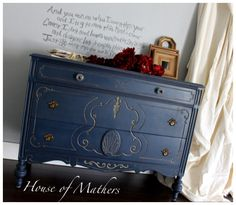 For Sale 682-224-9484 www.Facebook.com/HouseOfMathers ~Deep Blue Antiqued Vintage Dresser/Media Console/Buffet/Entry Table/Credenza/Sideboard/Nursery Changing Table Custom Painted by House Of Mathers