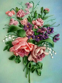 Embroidery Boutique, Crewel Embroidery Kits, Hand Embroidery Flowers, Embroidered Flowers, Silk Flowers, Fabric Flowers, Embroidery Patterns, Ribbon Embroidery Tutorial, Silk Ribbon Embroidery
