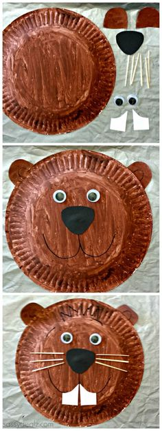 Groundhog Paper Plate Craft For Kids #Groundhogs day art project   http://CraftyMorning.com