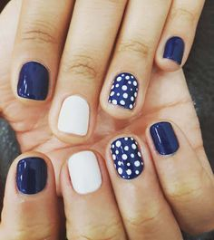 A manicure is a cosmetic elegance therapy for the finger nails and hands. A manicure could deal with just the Blue And White Nails, Navy Blue Nails, Navy Blue Nail Designs, Blue Toe Nails, Yellow Glitter, Black White, Dot Nail Art, Polka Dot Nails, Polka Dot Pedicure